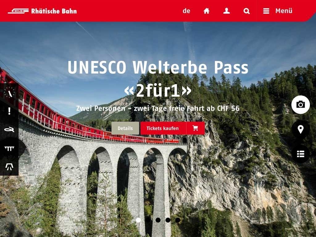 Screenshot von rhb.ch